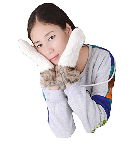 YideaHome 手袋 レディース手袋 女性防寒手袋 ふわふわ 厚手 可愛い 冬小物 運転運動にも 秋冬用