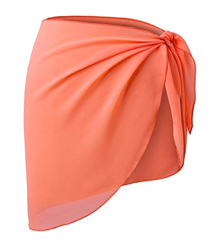 Shorts Black White Coral - CARDYDONY Women's Beach Short Sarong Chiffon Cover Up Wrap Skirts Swimwear Coral Orange Short