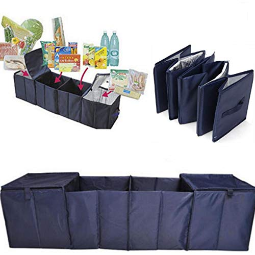 Kavas - Foldable Car Trunk Boot Storage 4 Grid Collapsible Organizer Cloth+Aluminum Foil+PVC Dark Blue With 2 Cooler Bags