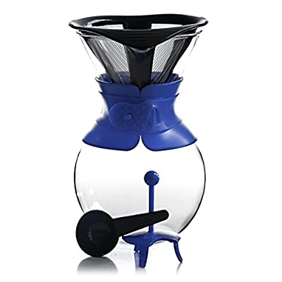 Bodum Pour Over Blue 34 Ounce Coffee Maker with Permanent Filter