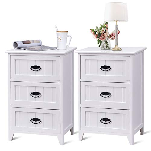 Giantex 3 Drawers Nightstand End Table Bedroom W/Storage, Solid Structure and Stable Frame Elegant Style Organizer Wooden Side Bedside Table (2, White)