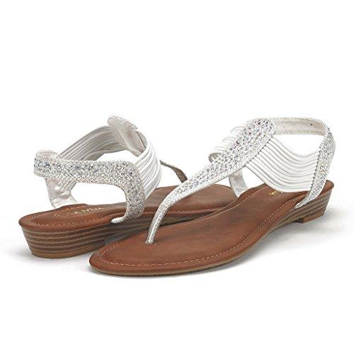 DREAM PAIRS SPARK Women's Strappy String Rhinestones Thong Ankle Strap Gladiator Sandals Metallic-White Size 8