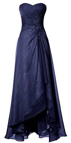 MACloth Women Long Hi Lo Wedding Bridesmaid Dress Sweetheart Formal Prom Gown Azul Marino Oscuro