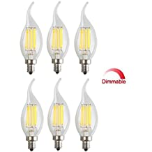 Best to Buy® (6-PACK) 6W Dimmable LED Filament Candle Light Bulb,3000K Warm White 600LM,E12 Candelabra Base Lamp Bullet Top,60W Incandescent Replacement