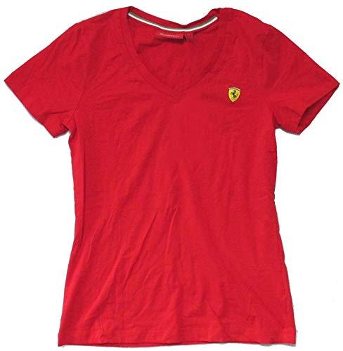 69554fa669ada Ferrari Scuderia SF Shield Logo Red V-Neck Baby Doll Girls Shirt (Large)