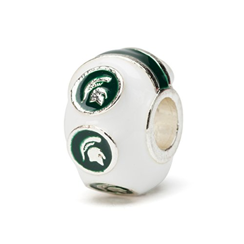 Michigan State Charm | Michigan State White Charm with 6 Spartan Heads | MSU Gifts | Officially Licensed Michigan State Jewelry | MSU Jewelry | Stainless -