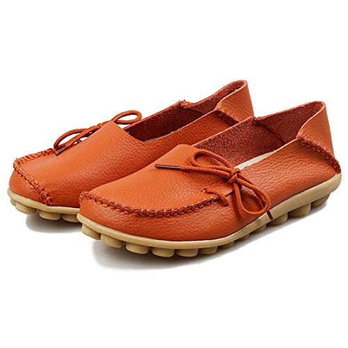 Orange Moccasins Slip Flats Leather Women's Casual On WYSBAOSHU Shoes Driving Loafers wx4ZvPnq
