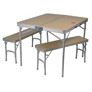 10T porTABLE - Juego de mesa y bancos para 4 personas para camping, color plateado