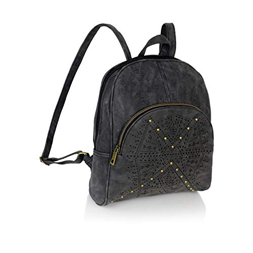 Bohemian Laser Cut Out Vegan Suede Daypack Bag- Mini Cute Hipster Perforated Design Women's Travel Backpack or School Bag (Vintage Black Faux Suede) ()