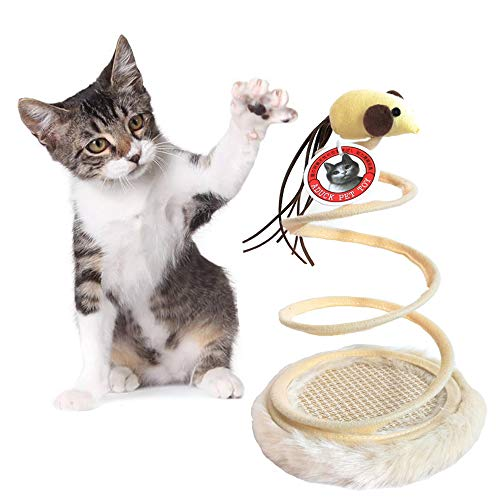(Aduck Interactive Cat Scratching Pad Toy with Long Spring Mice Toy, Resistant Sisal Fiber Wrapping - 9.8 Inches)