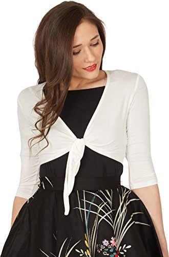 (BlackButterfly Front Tie Up Bolero Shrug (Ivory, US 6-8))