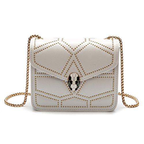 kaoling Señoras Hombro Crossbody Bolsas para Mujeres Bolsos Cuero Mujer Bolso pequeño bolsol Remache Red 1 White 1