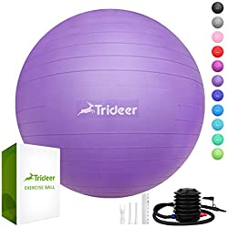 Trideer Exercise Ball (45-85cm) Extra Thick Yoga Ball Chair, Anti-Burst Heavy Duty Stability Ball Supports 2200lbs, Birthing Ball with Quick Pump (Office & Home & Gym) (Purple, S (38-45cm))