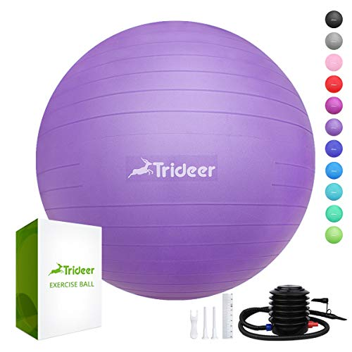 (Trideer Exercise Ball (45-85cm) Extra Thick Yoga Ball Chair, Anti-Burst Heavy Duty Stability Ball Supports 2200lbs, Birthing Ball with Quick Pump (Office & Home & Gym)(Purple 55cm))