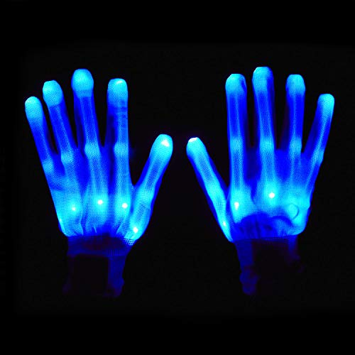 BESTTY LED Gloves Party Light Show Skeleton Halloween Gloves Blue LED Glove Clubs Lightshow Dancing Gloves Clubbing, Halloween, Rave, Birthday, EDM, Disco Party