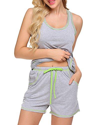 Sweetnight Womens Sleepwear Racerback Tank Top and Shorts 2 Piece Pajamas Set (Gray, XXL) ()