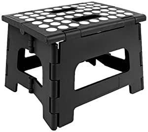StepSafe® High Quality Non Slip Folding Step Stool For Kids and Adults with Handle- 9 in Height, Holds up to 300 Lb! (black)
