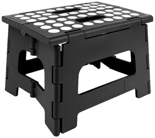 ity Non Slip Folding Step Stool For Kids and Adults with Handle- 9 in Height, Holds up to 300 Lb! (black) ()