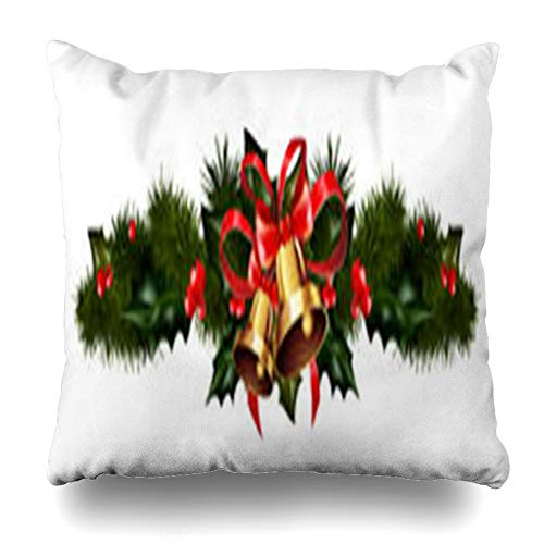 Shimmering Holly - AileenREE Throw Pillow Covers Spruce Green Garland Christmas Fir Tree Golden Jingle Shimmering Holidays Nature Branch Merry Holly Pillowcase Square Size 20 x 20 Inches Home Decor Cushion Cases
