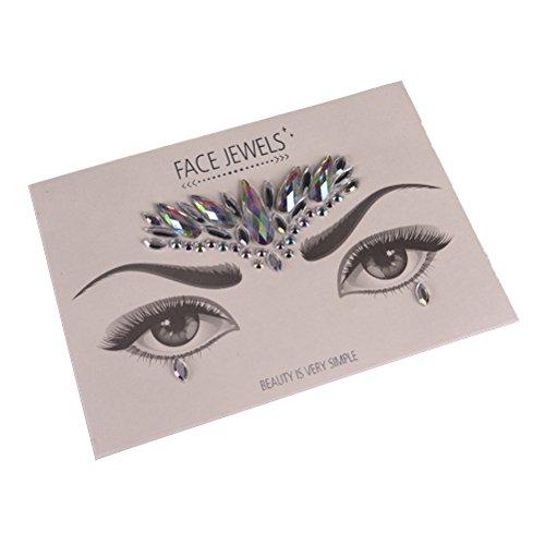 1 Set Face Jewels Gem Bindi Body Jewelry Stickers Rhinestone Tattoo Temporary Face Rocks by Team-Management