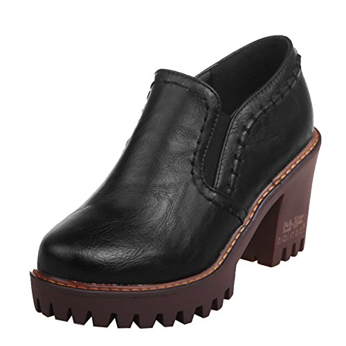Latasa Dames Blok Hoge Hakken Slip Loafers Schoenen Zwart