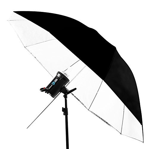 Neewer 59 inches/150 Centimeters Detachable Photography Lighting Umbrella - White Convertible Umbrella with Removable Black Cover and Reflective Silver Backing