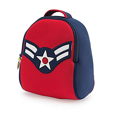 Dabbawalla Bags Vintage Flyer Military themed Kids' Preschool & Toddler Backpack Navy/Red - Multi Purpose Insulated Tote