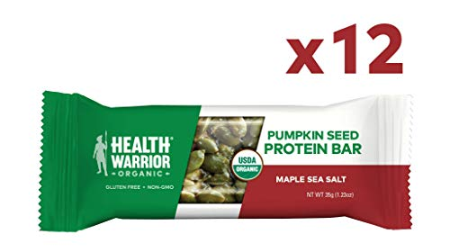 Health Warrior Pumpkin Seed Protein Bars, Maple Sea Salt, 8g Plant Protein, Vegan, Gluten Free, Certified Organic, 12 Count