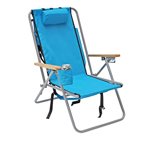Rio Brands Hi-Back Deluxe Steel Backpack Chair with Storage Pouch (Light Blue) - Deluxe Beach Chair