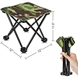 AILLOVCOL Mini Portable Folding Stool,Folding Camping Stool,Mini Camp Stool,Fishing Stool for Adults Fishing Hiking Gardening and Beach with Carry Bag(Camouflage)
