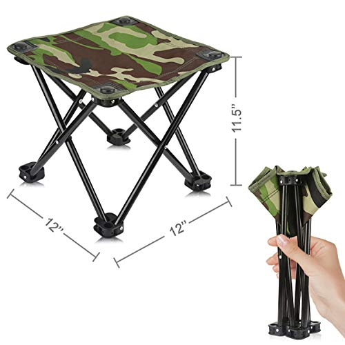 AILLOVCOL Mini Portable Folding Stool,Folding Camping Stool, Outdoor Folding Chair for BBQ,Camping,Fishing,Travel,Hiking,Garden,Beach, Oxford Cloth Seat with Carry Bag 12