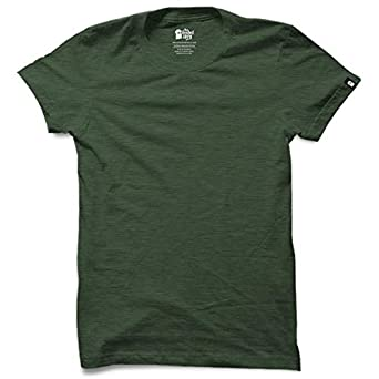 3ddb1dddf The Souled Store Solids: Green Melange Cotton Polyester Blend Printed T- Shirt for Men Women and Girls: Amazon.in: Clothing & Accessories