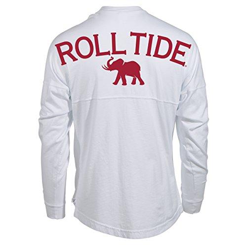 Official NCAA University of Alabama Crimson Tide UA ROLL TIDE! Women's Long Sleeve Spirit Wear Jersey T-Shirt ()