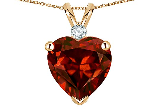 Star K 8mm Genuine Garnet Heart Pendant Necklace 14 kt Yellow Gold