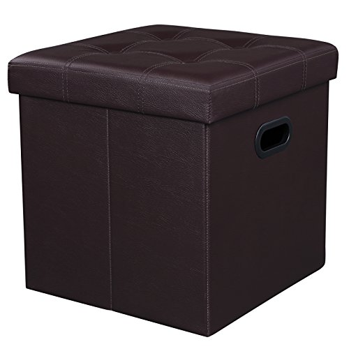 SONGMICS Folding Storage Ottoman Cube W' Hole Handle, Faux Leather, Brown (Vinyl Square Storage Ottoman)