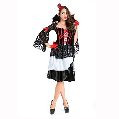Masked Magician Halloween Costume (Fashion-Cos1 Black Demon Witch Queen Costume Women Adult Halloween Cosplay Costumes Sexy Magician Performances Fancy)
