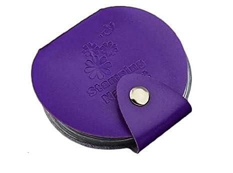 Huertuer Estuche organizador de 24 ranuras para sellos de uñas, diseño de impresión, color morado