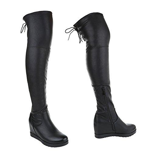 Keilabsatz Stiefel Wedge Schuhe Stiefel Klassischer Ital Damen Design Schwarz Reißverschluss Keilabsatz Overknee Stiefel UTqpHvxwHX