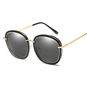 Trend Color Film Metal Sunglasses Men and Women Sunglasses Polarized Sunglasses (Color : Gray, Size : Free)
