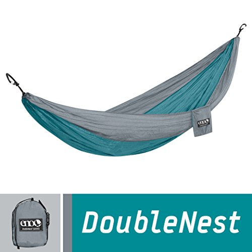 ENO Eagles Nest Outfitters - DoubleNest Hammock, Portable Hammock for Two, Seafoam/Grey