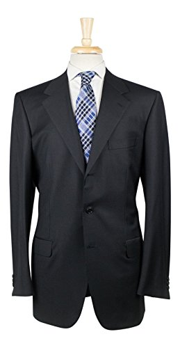 Brioni Wool Suit (BRIONI Palatino 21 Black Wool 3 Roll 2 Button Suit Size 62/52 R)