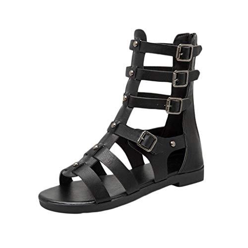 Price comparison product image Tsmile Women Sandals Fashion Metal Back Zipper Peep Toe Roman Style Sandals Party Wedding Casual Shoes Black