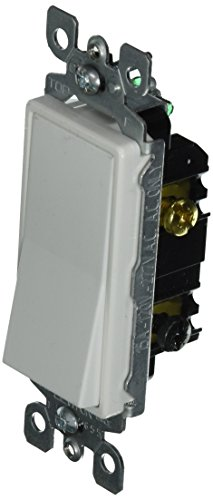 Leviton 5613-2W 15 Amp, 120/277 Volt, Decora Rocker Lighted Handle, Illuminated Off 3-Way AC Quiet Switch, Residential Grade, Grounding, White