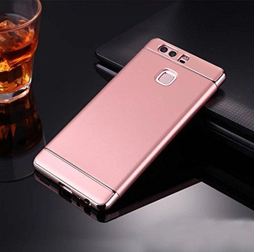 Huawei P10 Funda, Vandot Hybrid Diseño 3 en 1 Cáscara Dura de la PC Recubrimiento Metálico Marco Chapado Matte de Lujo Hard Caja de Telefono Duro Protección Cubierta Case Cover para Huawei P10, Plata Hybrid Rosa