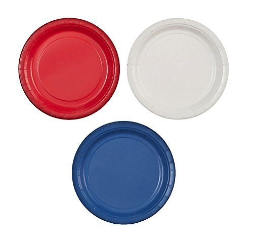 Party Dimensions 7'' Paper Plate Bundle: Red, White & Blue - 72 Plates Total