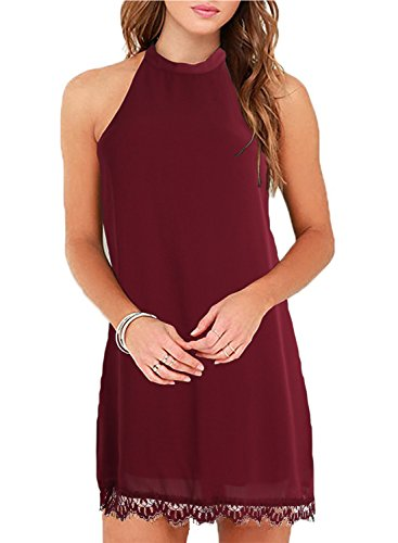 - Fantaist Women's Halter Neck Sleeveless Lace Trim Loose Shift Mini Casual Dress (XS, FT610-Burgundy)