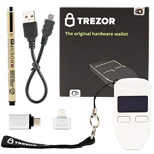 Trezor One - White Bitcoin Hardware Wallet Bundle with Bonus VUVIV Micro-USB Adapter & USB-C Adapter for MacBook & Sakura Pigma Archival Ink Pen for Recovery Seed Sheet (Best Multi Cryptocurrency Wallet)