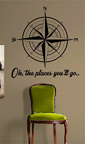 Compass Rose Oh The Places Youll Go Nautical Sticker Decal Wall Vinyl Art Beach Ocean Quote (Sticker Wall La La Oh)