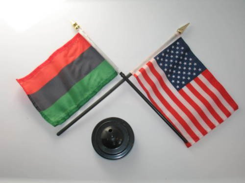 Africa African USA American Flag 4''x6'' Desk Set Table Stick Black Base BEST Garden Outdor Decor polyester material FLAG PREMIUM Vivid Color and UV Fade Resistant by Moon