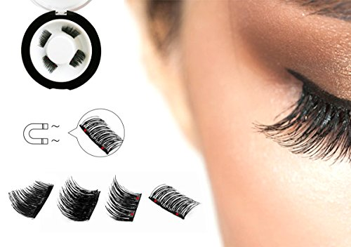 Dual Magnetic Half Size False Eyelashes Set (4 pieces) - Handmade 3D Fake Magnetic Lashes Extension - Best Reusable and Easy to Apply Ultra Thin Dual Magnet System - Soft, Comfortable, Natural Look (Amazon Magnets)